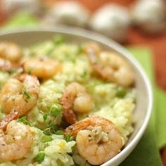 Peas, prawns and thyme risotto. Shellfish Recipes, Seafood Recipes, Pasta Recipes, Cooking Recipes, Rice Recipes, Rice Dishes, Pasta Dishes, Main Dishes, Shrimp Risotto