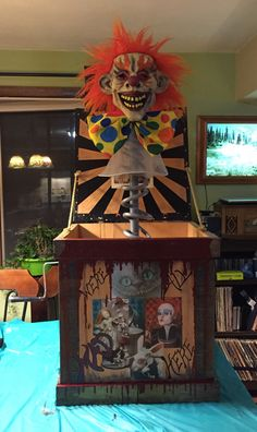 Pinterest inspired creepy clown Jack in the box yard display that I made for Halloween. Each side depicts a different scary children's story or urban legend. What do you think ?