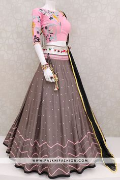 Palkhi fashion presents dark mauve soft cotton silk abhala work navratri chaniya choli with blush pink designer blouse & black pure chiffon dupatta.