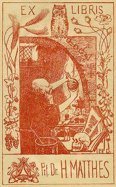 Alchemical bookplate. Professor H. Matthews. Pratt Libraries collection.