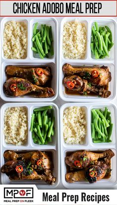 Chicken Adobo Meal Prep - Meal Prep on Fleek™ A classic Filipino dish made by swapping soy sauce for coconut aminos. Serve this flavorful marinated chicken with cauliflower rice and green beans for a complete meal. Lunch Recipes, Paleo Recipes, Healthy Dinner Recipes, Low Carb Recipes, Healthy Snacks, Healthy Eating, Paleo Food, Paleo Dinner, Yummy Recipes