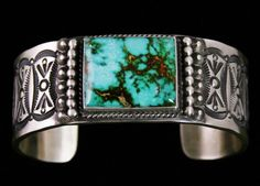 Herman Smith Rare Gem Grade Royston Turquoise Bracelet #HermanSmith #Cuff  Navajo jeweler Herman Smith makes some of the most beautiful men's bracelets on the market today. We only request his heaviest ten gauge sterling as we prefer a substantial weight and superior feel when worn on the wrist. An exceptional large and rectangular cut cabochon was chosen for the piece as well. The stone is a classic example of the finest gem grade from the Royston mine in Nevada.