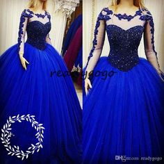 0d6c6b04cc22 Luxury Major Beading Quinceanera Dresses Pageant 2018 Sheer Long Sleeves  Royal Blue Tulle Sweet 16 Dress Prom For Girls Vestidos De 15 Anos