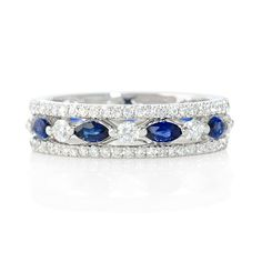 NEW: Eternity ring featuring 121 round brilliant cut white diamonds and nine faceted marquise shaped blue sapphires of exquisite color. $2,265 #love #wedding #jewelry