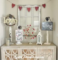 DIY Valentine's Day Decor using refurbished Christmas Decorations - Quite Contemporary