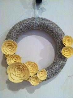"""Yarn wreath felt handmade 10"""" gray and yellow. $30.00, via Etsy."""