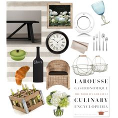 French Country Kitchen by nataly-blowe on Polyvore featuring polyvore, interior, interiors, interior design, home, home decor, interior decorating, Restoration Hardware, Crate and Barrel, Serena & Lily, Le Creuset, Ricci Argentieri, Uttermost, Diane James, Pier 1 Imports, Mitchell Gold + Bob Williams, Garden Trading, kitchen and country