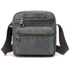Yeso Oxford flax Vintage Shoulder Bag Multi-Pockets Crossbody Business Messenger Bags (Grey Blue) -- Awesome products selected by Anna Churchill