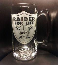 "Etched Oakland Raiders ""Raiders for Life"" Beer Mug Raider Nation | eBay"