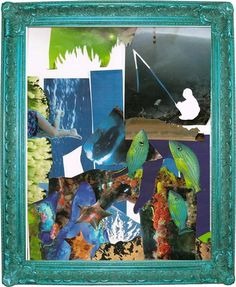 Fishing Trip Collage  Upcycled Eco Surrealism  Mixed by dproject