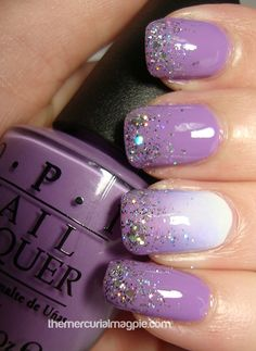 Glitter nail art designs have become a constant favorite. Almost every girl loves glitter on their nails. Have your found your favorite Glitter Nail Art Design ? Beautybigbang offer Glitter Nail Art Designs 2018 collections for you ! Lilac Nails Design, Purple Nail Designs, Nail Art Designs, Nail Art Ideas, Purple Nail Art, Glitter Nail Art, Lilac Nails With Glitter, Purple Wedding Nails, Purple Makeup