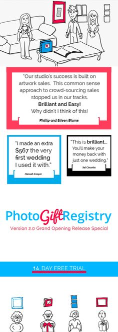 With this new crowdfunding sales tool for photographers, your couples can register for your albums and wall art!  Instead of more blenders and toasters.  Did you hear about our new 2 week free trial?  Get the FREE TRIAL >  https://photogiftregistry.com/intro-to-gift-registry-sales-free-trial