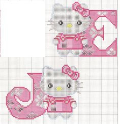 Ponto Cruz - Abecedário Hello Kitty (J-E)