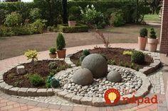 garden deco with Stone Flower Beds, Landscape Design, Garden Design, Concrete Crafts, Outdoor Living, Outdoor Decor, Garden Ornaments, Diy Garden Decor, Interior Exterior