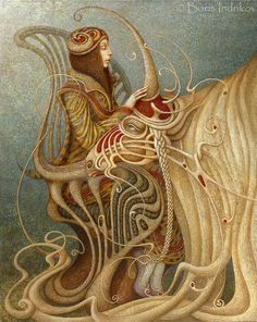 We just came across this work from Russian artist Boris Indrikov. Is is an crazy combination of classic, Art Nouveau and even some Surrealistic imagery all at once. The work is definitely something different which is nice to find once in a while.