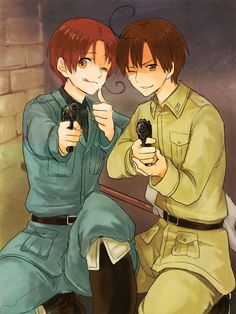 Hetalia - Italy and Romano. Somehow I don't think they'd know how to hold a gun properly. Lol <---- FRICKEN MOBSTERS MAN. MOBSTERS. THEY KNOW HOW TO HOLD A GUN.