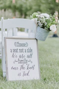 Outdoor Wedding Ceremonies Ceremony signs- rustic wedding signs- summer wedding- Choose a seat not a side. - Rustic outdoor wedding at Fox River Forest Preserve. DIY centerpieces, wildflower bouquets and pink and blue bridesmaids gowns. Wedding Decorations On A Budget, Rustic Wedding Centerpieces, Budget Wedding, Destination Wedding, Wedding Planning, Diy Centerpieces, Tent Decorations, Wedding Destinations, Event Planning