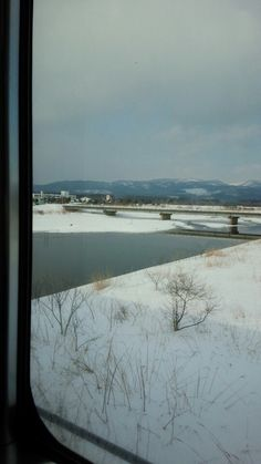 The snow country viewing by train window