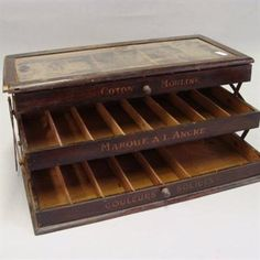 Here is an example of an expanding and hinged thread display case.  Perhaps this is a European version of the drawer-style thread cases commonly seen here in North America.