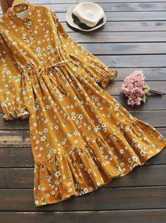 Floral printed elastic waist long sleeve vintage dresses in Modest Dresses, Modest Outfits, Cheap Dresses, Simple Dresses, Pretty Dresses, Beautiful Dresses, Casual Dresses, Halter Dresses, Modest Clothing