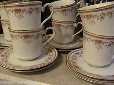 LOT 4 LENOX RUSSET BLOSSOMS CUPS & SAUCERS - DISC PATTERN - BOUQUET COLLECTION