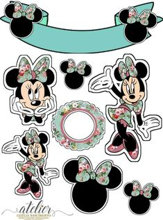Printable Stickers, Cute Stickers, Scrapbook Da Disney, Mickey E Minnie Mouse, Disney Characters Costumes, Mini Mouse, Paper Cake, Birthday Decorations, Disneyland