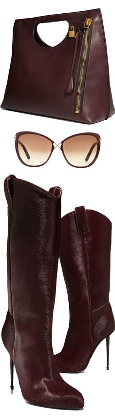 Tom Ford Calf Hair Mid-Calf Western-Cut Stiletto Boot, Wine/Gunmetal and Tom Ford Alix Leather Padlock & Zip Shoulder Tote Bag, Bordeaux and Tom Ford Celia Metal Cat-Eye Sunglasses
