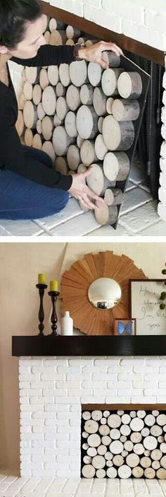 Faux log fireplace