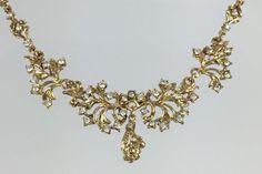 Gold Rhinestone Choker Necklace  Vintage Organic by RhinestoneByrd