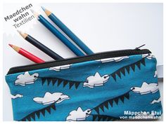 Mäppchen Wimpel Wolken blau, Etui von Maedchenwahn von maedchenwahn auf DaWanda.com