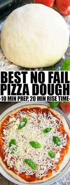 Quick and easy HOMEMADE PIZZA DOUGH recipe from scratch, requiring basic ingredients and 20 mins rise time. Best pizza dough ever that freezes well too. From cakewhiz.com