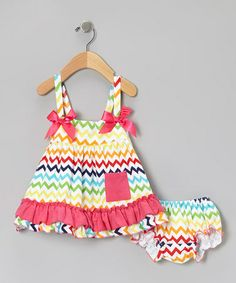 Take a look at this Rainbow Zigzag Swing Top & Bloomers - Infant by Tutus by Tutu AND Lulu on #zulily today!