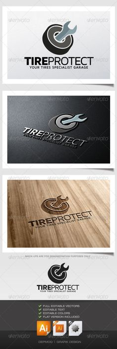 Tire Protect Logo #GraphicRiver Logo of a tire with a tool inside. Can be used for many kind of project. Full vectors, this logo can be easily resize and colors can be changed to fit your colors project. Flat (black) version for print also included. The font used is in a download file in the package. Font : .fontsquirrel /fonts/maven-pro Files provided : .ai (CC and CS), .eps, .jpg, .png (transparent) Created: 7August13 GraphicsFilesIncluded: TransparentPNG #JPGImage #VectorEPS…