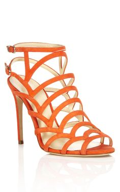 Orange Strappy Sandal by Alexandre Birman for Preorder on Moda Operandi