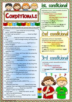 Conditionals - revision Language: English Grade/level: intermediate School subject: English as a Second Language (ESL) Main content: Conditional sentences Other contents: Grammar Activities, English Activities, Grammar And Vocabulary, Grammar Lessons, English Vocabulary, Grammar Rules, English Grammar Worksheets, English Verbs, English Language