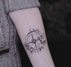 Small Compass Tattoo - InkStyleMag - Made by Diana Severinenko Tattoos . - Small Compass Tattoo – InkStyleMag – Made by Diana Severinenko Tattoo Artist in Kyiv, Ukraine R - Arrow Tattoos, New Tattoos, Body Art Tattoos, Small Tattoos, Girl Tattoos, Sleeve Tattoos, Tattos, Pretty Tattoos, Beautiful Tattoos