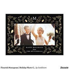 Flourish Monogram   Holiday Photo Card