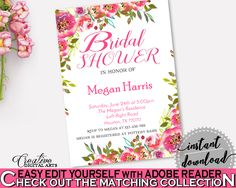 Invitation Bridal Shower Invitation Spring Flowers Bridal Shower Invitation Bridal Shower Spring Flowers Invitation Pink Green instant UY5IG #bride #bidal #wedding #bridalshower #bridal-shower