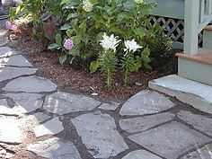 How to Build a Rock Walkway Steps) Slate Walkway, Rock Walkway, Outdoor Walkway, Patio Pergola, Outdoor Patios, Outdoor Spaces, Outdoor Living, Landscaping With Rocks, Backyard Landscaping