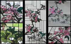 Plum blossoms, ink painting and stained glass