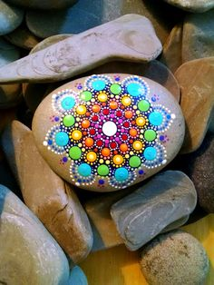 Large Hand Painted Beach Stone Rainbow by P4MirandaPitrone