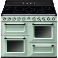 Smeg Victoria Traditional Electric Range Cooker With Induction Hob - Pastel Green Electric Range Cookers, Electric Cooker, Electric Stove, Stove Oven, Oberhitze Grill, Victoria, Induction Range Cooker, Freestanding Cooker, Ovens