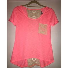 Peach Tee W/ Lace Great summer top! A bright peachy pink color with a cream color lace pocket on chest, and a center lace back! Charlotte Russe Tops Tees - Short Sleeve