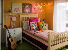 cute idea for girls. Just add an owl pillow to a cute quilt
