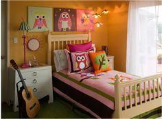 cute idea for girls. Just add an owl pillow to a cute quilt