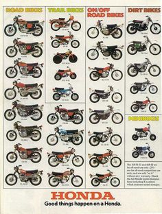 Honda model chart