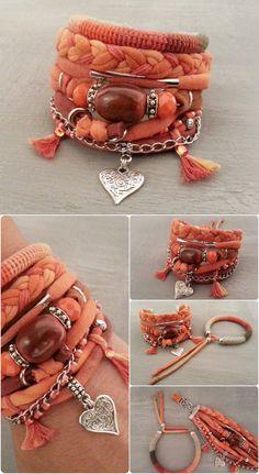 Orange Brown Bohemian Gypsy Style Bracelet, Multi Layer Bracelet, Orange Bracelet, Heart Bracelet, Autumn Jewelry, Fire Bracelet
