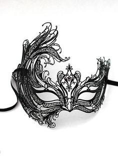 Luxury 'Swan' Venetian Metal Black Filigree Masquerade Mask, with Crystals. Ball