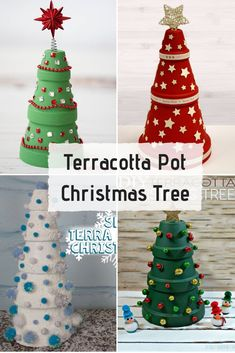 Terracotta Pot Christmas Tree You'll need terracotta clay pots of different sizes for this DIY Christmas tree. Just paint them and stack one over the other to look like a tree. Christmas Clay, Christmas Crafts For Kids, Diy Christmas Ornaments, Homemade Christmas, Diy Christmas Gifts, Christmas Projects, Holiday Crafts, Christmas Decorations, Christmas Garden