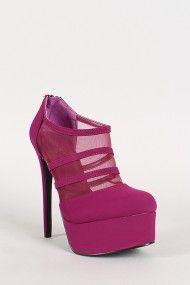 Qupid Ravish-68 Nubuck Mesh Almond Toe Platform Bootie #urbanog #summer #fashion #shoes